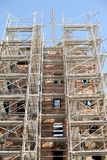 Restoration 1. Scaffolding work place at ancient building Royalty Free Stock Photo
