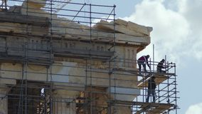 Restoration activities on the ancient Parthenon Temple stock footage
