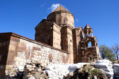 Restoration of Armenian church. Armenian church on Akdamar island, lake Van, Turkey Royalty Free Stock Photo