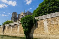 Restoration of the Cathedral of Notre Dame de Paris after the fire. Construction works. View from the river Seine stock photography