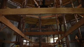 Restoration of the Church with the help of wooden scaffolding stock footage