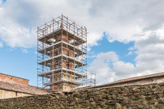 Restoration of the Church in the historic center. Of Castiglione Fiorentino Royalty Free Stock Photography