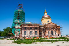 Restoration of the Church landscape. Landscape of Church restoration. Summer sunny day. Moscow region, Russia Stock Images