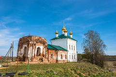The restoration of the Church of the Resurrection in the village. Restoration of the Church of the Resurrection on a clear Sunny day in the village Stromihino Royalty Free Stock Photo