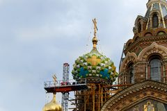 Restoration of the  Church of the Savior on Spilled Blood in Saint-Petersburg. SAINT-PETERSBURG, RUSSIA - August 21,  2017:  Restoration of the  Church of Royalty Free Stock Photos