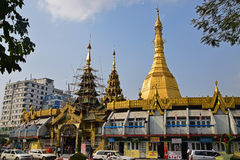 Restoration & Conservation work for Sule Pagoda in downtown Yangon Stock Images