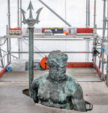 Restoration and conservation yard of the Neptune statue, part of Royalty Free Stock Photos