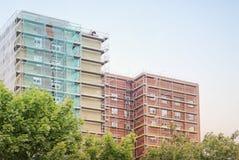 Restoration facade of tall house Stock Photo