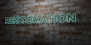 RESTORATION - Glowing Neon Sign on stonework wall - 3D rendered royalty free stock illustration. Can be used for online banner ads and direct mailers Royalty Free Stock Photography