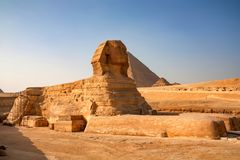 Restoration of the Great Sphinx of Giza. Close view of restoration of the Great Sphinx of Giza in front of pyramid of Khufu Royalty Free Stock Photography