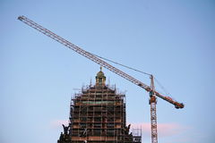 Restoration of the historical building of the National Museum in Prague, with a tall crane and metal scaffolding Stock Images