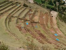 Restoration of Inca terraces Royalty Free Stock Photo