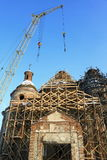 Restoration of an old beautiful church. With scaffolding Royalty Free Stock Photography