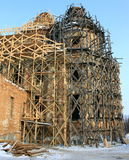 Restoration of an old beautiful church. With scaffolding Royalty Free Stock Images