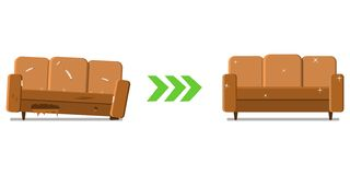 Restoration of the old sofa, before and after. stock photography