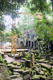 Restoration program in Angkor Wat temples Royalty Free Stock Image