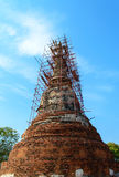 Restoration of the ruins pagoda at wat mahathat temple. Stock Photos