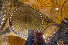 Restoration scaffolding and ceiling in Hagia Sophia Royalty Free Stock Photos