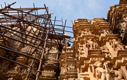 Restoration of temple in Khajuraho Stock Photos