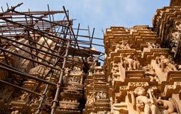 Restoration of temple in Khajuraho stock photos