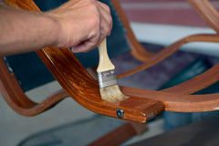 Restoration of wooden chairs Royalty Free Stock Image