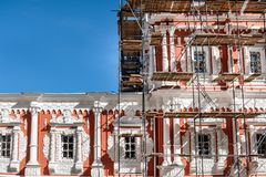 Restoration work of a historical monument in Nizhny Novgorod. Restoration work of a historical monument in Nizhny Novgorod royalty free stock photography