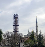 Restoration work a minaret of Sultanahmet Mosque Royalty Free Stock Image