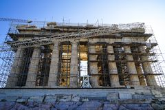 Restoration work in progress at world heritage ancient Parthenon Restoration work in progress at world heritage ancient Parthenon Royalty Free Stock Photography