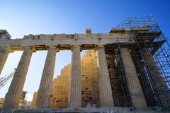 Restoration work in progress at world heritage classical Parthenon showing doric order, flute and metope on top of Acropolis with Royalty Free Stock Images