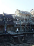 Restoration workers building scaffhold in Angkor Wat, in Siem Reap Royalty Free Stock Photo