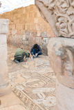 Restoration works in Byzantine church in Petra Stock Image