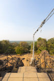 Restoration works at the Phnom bakheng Temple in Angkor. Stock Photography