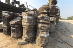Restoration works at the Phnom bakheng Temple in Angkor. Stock Photos