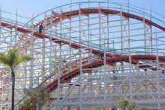 Restorations of Giant Dipper wooden roller coaster tracks Royalty Free Stock Photos