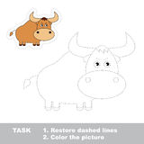 Restore dashed line and color picture. One cartoon yak to be traced. Trace game for children vector illustration