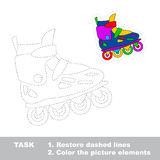 Restore dashed line. One cartoon roller skate. One cartoon roller skate. Restore dashed line and color picture. Trace game for children vector illustration