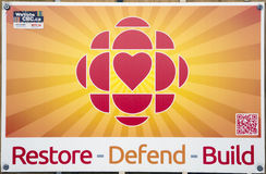 Restore Defend Build CBC. An English language poster designed to gain support against the Canadian Government's plans to decrease funding for the Canadian stock image