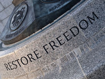 Restore Freedom Carving. From the WW2 Memorial in Washington DC Stock Photo