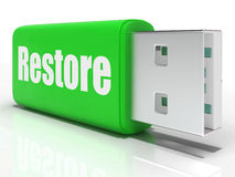 Restore Pen drive Means Data Safe Copy Or Royalty Free Stock Image