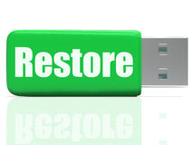 Restore Pen drive Shows Data Security And Royalty Free Stock Photography