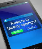 Restore to factory settings. Royalty Free Stock Photo