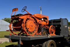 Restored Allis Chalmers tractor. DALTON, MINNESOTA, Sept 8, 2017: An Allis Chalmers restored B tractor on a flat bed truck tractors will be displayed at the Royalty Free Stock Images