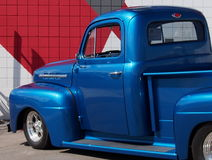 Restored Antique Lowrider Blue Truck Stock Photography
