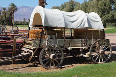 Restored antique wagon. The open air museum. Restored antique wagon of the first settlers in the oasis in Death Valley stock image