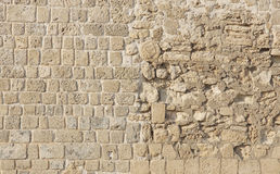 Restored Bahrain fort wall with different textures Stock Photos