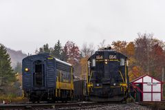 Restored Baltimore and Ohio Railroad Locomotive - West Virginia. A foggy morning greets a restored Baltimore and Ohio Railroad locomotive at Cheats Bridge, West stock photo