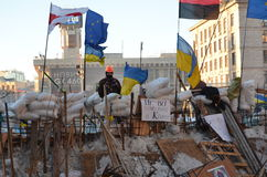 Restored barricade of Euromaidan in the Ukrainian capital Royalty Free Stock Photo