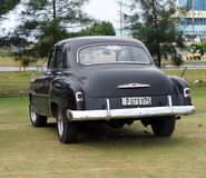 Restored Black Chevrolet At Playa Del Este Cuba Royalty Free Stock Photography