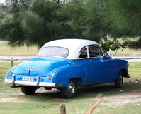 Restored Blue Chevrolet At Playa Del Este Cuba Royalty Free Stock Image