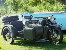 Restored BMW Motorcycle With Sidecar Royalty Free Stock Photography